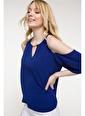 DeFacto Omuz Pencere Detaylı Gold Yaka Aksesuarlı Bluz  Mavi
